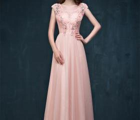 Pink Lace Beading Evening Dress Long Prom Dress Formal Dress