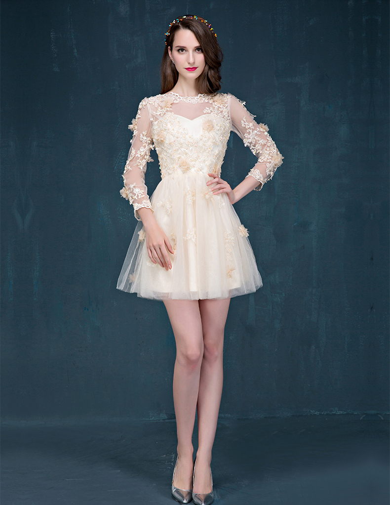 champagne sleeve short prom dress lace cocktail dress With cocktail dresses with sleeves for weddings