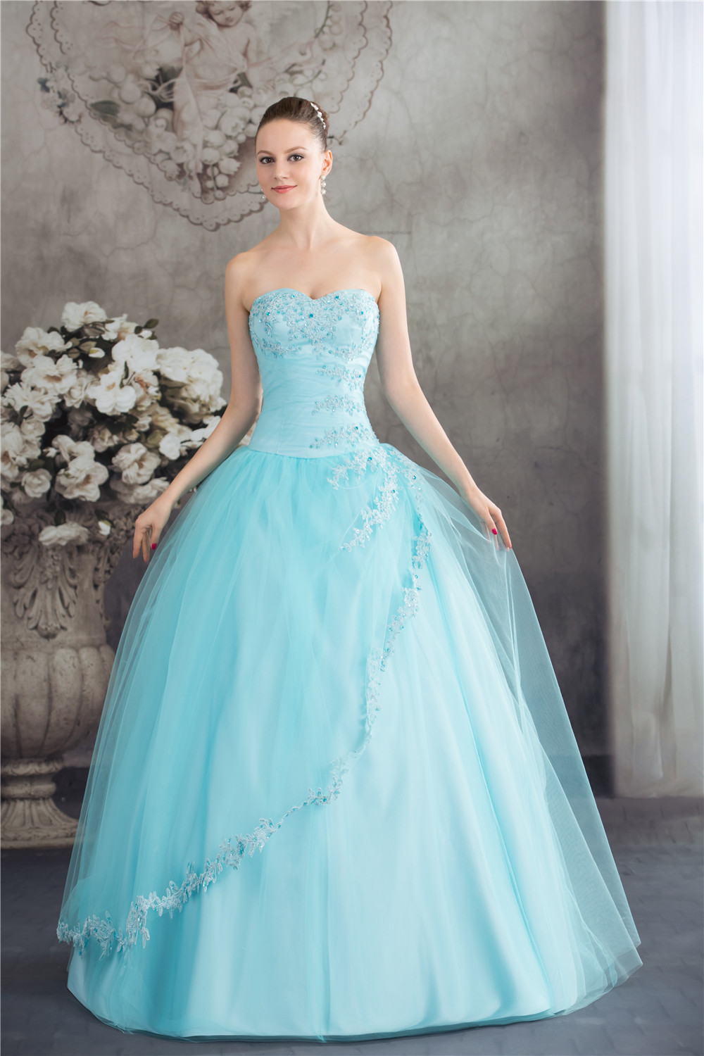 Light Blue Beading Corset Back Prom Dress Long Military Ball Gowns ...