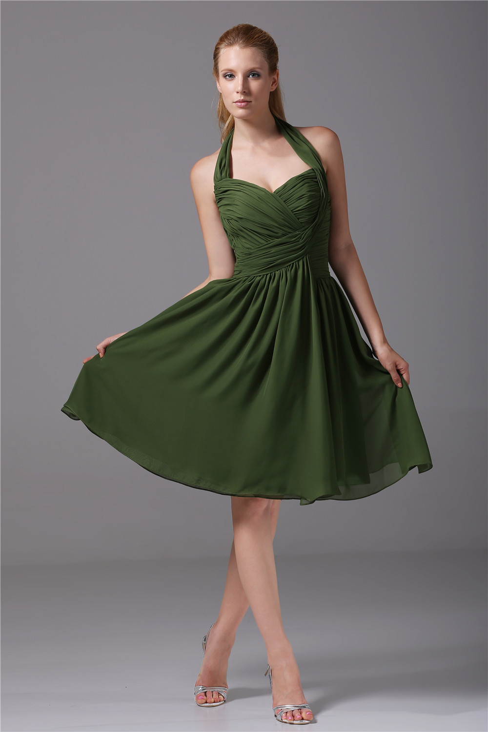 Dark green ruched chiffon bridesmaid dresses summer for Summer wedding dresses guest