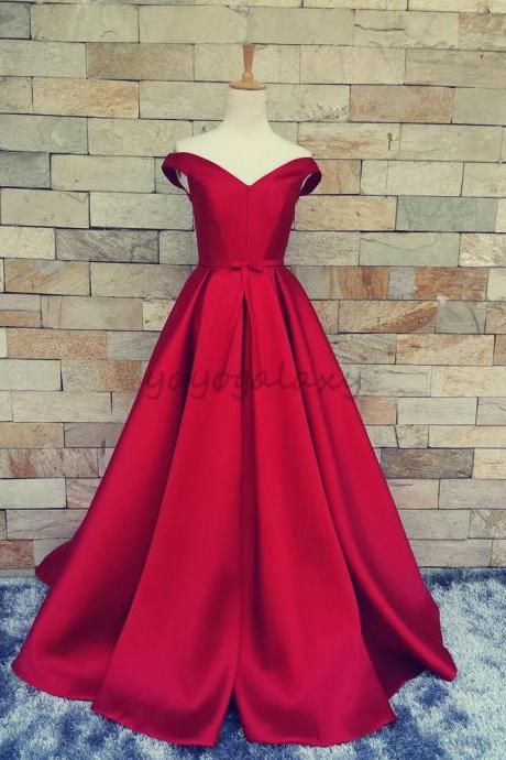 Red Portrait Bow A Line Satin Formal Long Evening Prom Dress