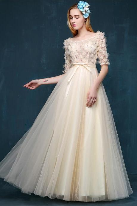 Illusion Long Prom Dress 1/2 Sleeves Evening Dress Sexy Cocktail Dress Beading Beading Bridesmaid Dress
